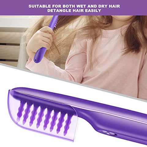 Electric Detangling Comb Wet Dry Dual Use Negative Ion Massage Comb Styling Tool Purple Wet or Dry Tame The Mane Electric Detangling Brush with Brush Cover