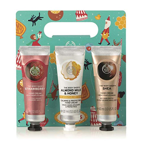The Body Shop Hand Cream Trio Gift Set, Strawberry, Milk & Honey & Shea, Perfect Stocking Stuffer