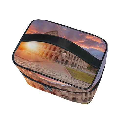 Cooper girl Rome Colosseum Amphitheater Cosmetic Bag Travel Makeup Train Cases Storage Organizer