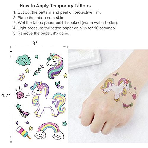 Oexper 40 Pieces Unicorn Hair Ties Elastic Ponytail Holders No Crease Hair Styling Accessories for Girls Toddlers Women Kids Children Adults with Free Gift 1 Sheet Unicorn Temporary Tattoos