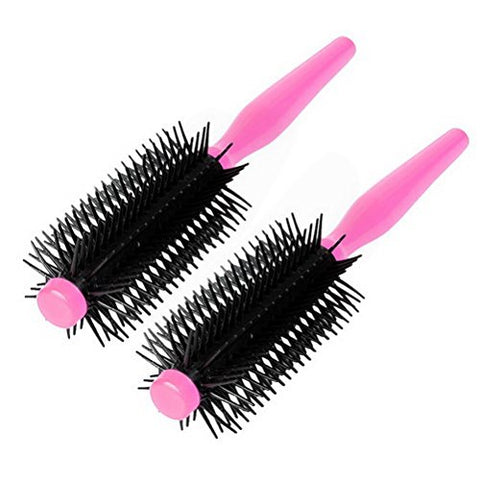 Plastic Salon Styling Wavy Curly Roll Round Comb Hair Care Brush 2pcs Pink by Uptell