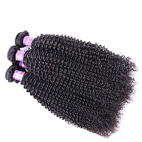 Hairpieces Fashian Kinky Curly Hair Bundles Human Hair Weave Brazilian Remy Hair Extensions - Natural Black Color (12 Inch-26 Inch) for Daily Use and Party (Color : Black, Size : 16 inch)