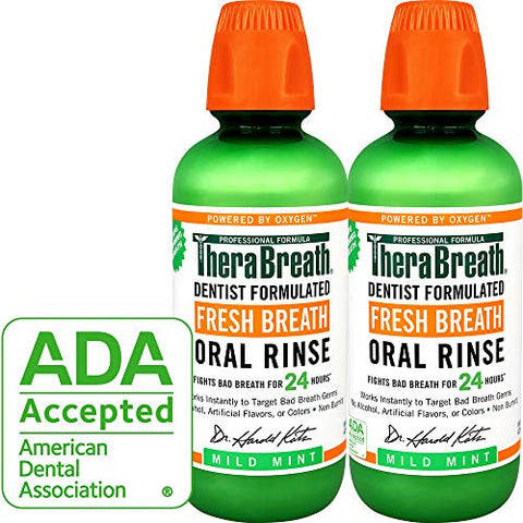TheraBreath Fresh Breath Oral Rinse, Mild Mint, 16 Ounce Bottle (Pack of 2)