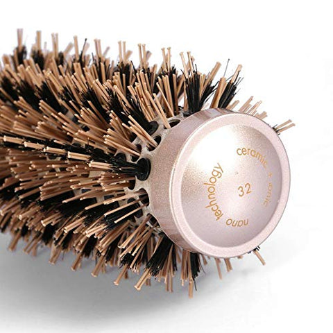 Ceramic Roller Comb, Salon Hairdressing Curling Hair Style Brushes Ceramic Iron Round Comb, Hair Styling Tools(32mm)