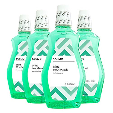 Amazon Brand - Solimo Mint Mouthwash, Fresh Mint, 1 Liter, 33.8 Fluid Ounces, Pack of 4