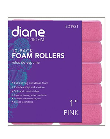 Diane Foam Rollers, Pink, 1'', 10/bag, Helps keep your hair in place, Soft material won't hurt your hair, Hair twist and curls, Comfortable material, Hair styles, Perms