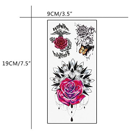 TAFLY Temporary Tattoos Chest Rose Waterproof Fake Body Art Tattoos Sticker for Women 5 Sheets