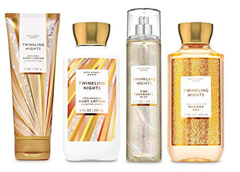 Bath and Body Works TWINKLING NIGHTS - Deluxe Gift Set Body Lotion - Body Cream - Fragrance Mist and Shower Gel - Full Size