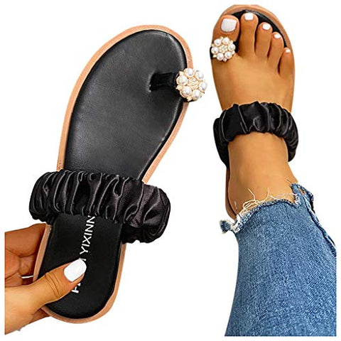 HIRIRI Women's Wedge Slides Sandals Flip Flops Toe Ring Side Cutout Slippers Girls Pearls Flat Strap Home Shoes Black