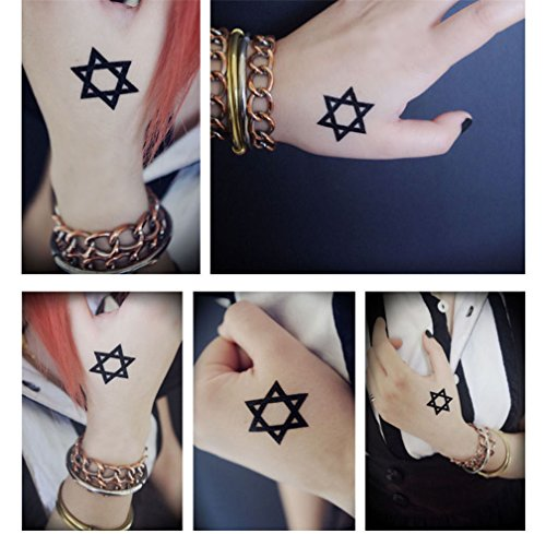 Gumstyle Star of David 5 Sheets Waterproof Temporary Tattoos Costume Cosplay Body Stickers