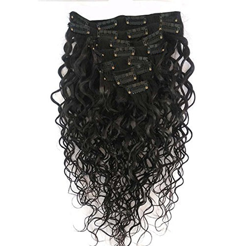 Doren Deep Curly Clip In Human Hair Extensions for Women 8Pcs 20Clips 120g 8A Virgin Remy Brazilian Wavy Curly Hair Natural Color 18 Inches
