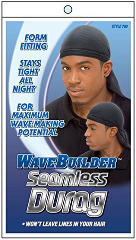 WaveBuilder Premium Hair Wave Seamless Durag, Black