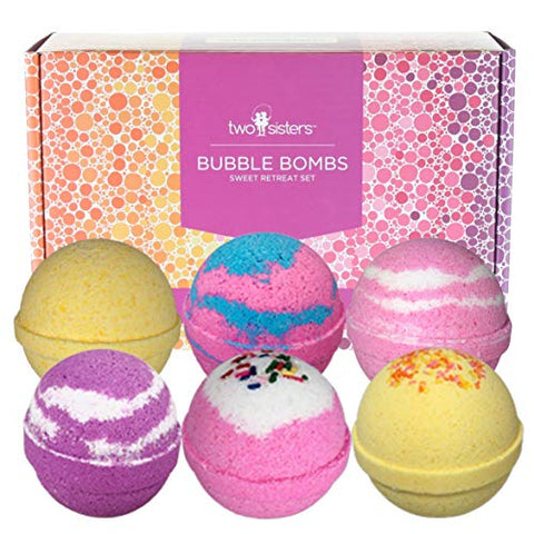 Sweet Retreat Birthday Bubble Bath Bombs Gift Set By Two Sisters Spa. 6 Large 99% Natural Fizzies Fo