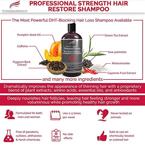 Hair Restoration Laboratories Professional Strength DHT-Blocking Hair Restore Shampoo, Effective for Thickening Thinning Hair and Hair Loss, Hair Regrowth Treatment for Men and Women, 16 oz
