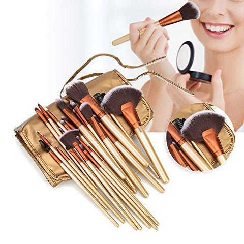 Garosa Soft Facial Makeup Brushes with PU Brush Bag 24Pcs Premium Synthetic Long Handle Cosmetic Brush Sets for Powder Foundation Blush Highlighter Eyeshadow Concealer