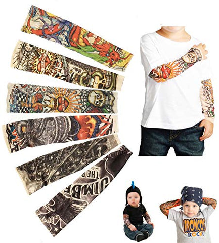 Temporary Tattoo Sleeves for Kids, Fake Slip On Arm Sunscreen Sleeves, 6pcs - Eagle,Skull,Dragon,Clown, Snake,etc