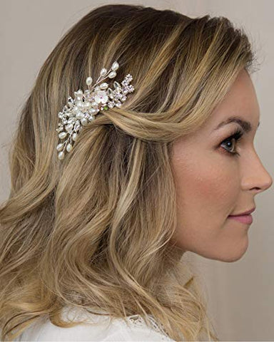 Kercisbeauty Small Cute Hair Comb Vintage Wedding Headpiece for Brides Bridal Hair Accessories Women Handmade Jewelry