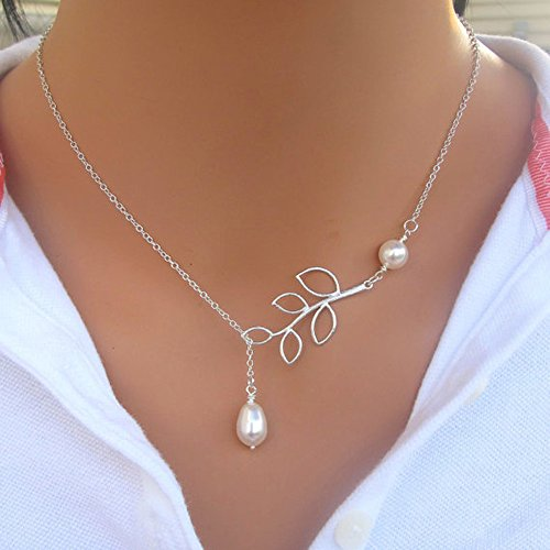 Kercisbeauty Simple Freshwater Pearl Leaves Pendant Silver Thin Chain Y Necklace for Women and Girls,Handmade Unique Necklace,Gift for her,Party,Daily Life,Anniversary,Birthday,Valentine's Day