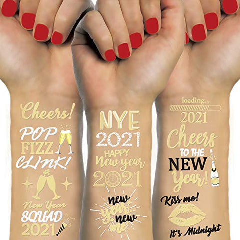 Konsait 48 Gold New Years Eve Tattoos, NYE Party Favors Supplies Temporary Tattoos, NYE Happy New Year Decorations, Gold Silver NYE 2021 Decor,New Year Party Favor Supplies for Kids Adults