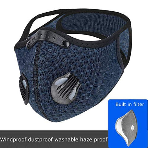 Heroky Sports Face Bandanas, Bike Face Msc,Mouth Scarf with Breathing Valve Men, Women for Running Cycling Reusable Activated Carbon (Navy, 1 PC)