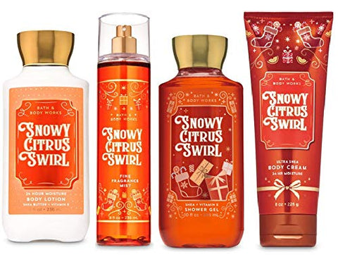 Bath and Body Works SNOWY CITRUS SWIRL - Deluxe Gift Set Body Lotion - Body Cream - Fragrance Mist and Shower Gel - Full Size