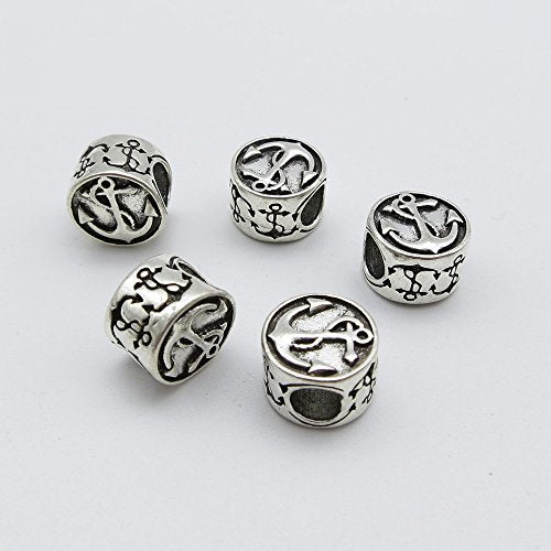 Baba 5pcs silver Anchor style Tibetan Braiding DIY Accessory Dread lock Hair Beads Hair Braid Pins Rings Cuff Clips Tibetan Jewelry Decor