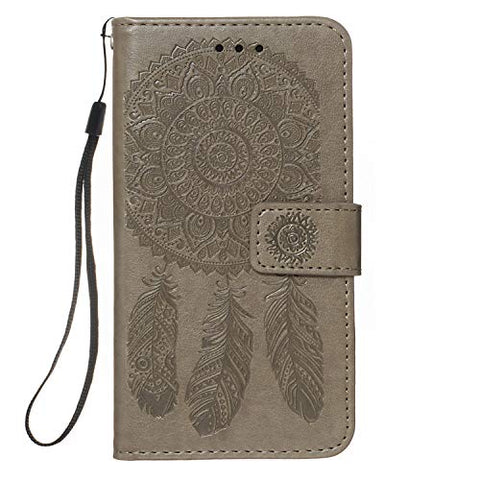 EnjoyCase Embossing Wallet Case for iPhone X/XS,PU Leather Dreamcatcher Mandala Flower Design Shockproof Card Slots Magnetic Closure Stand Function Folio Flip Book Cover