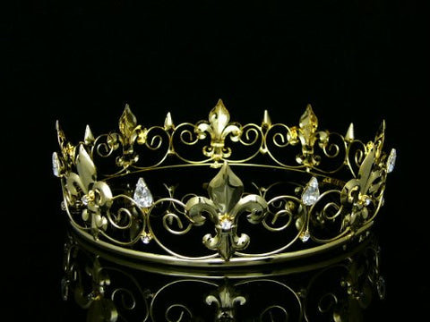 Men's Full King's Crown for Theather Prom Party - Clear Crystals Gold Plating T436