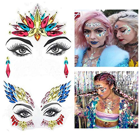 Victray Fashion Mermaid Face Jewels Tattoo Rhinestones Face Gems Festival Face Temporary Stickers Crystal Beach Body Stickers Party Decorations for Women and Girls?Pack of 2?