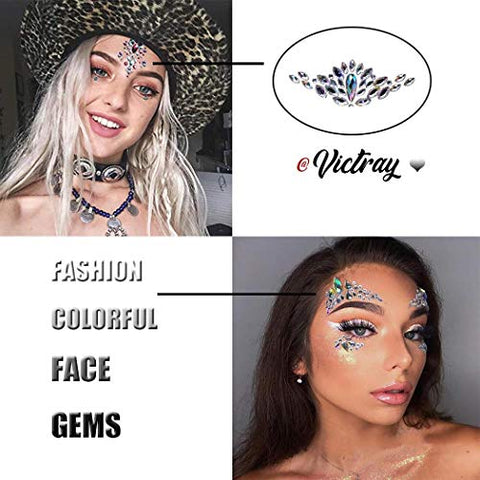 Victray Fashion Mermaid Face Jewels Tattoo Rhinestones Face Gems Festival Face Temporary Stickers Crystal Beach Body Stickers Party Decorations for Women and Girls