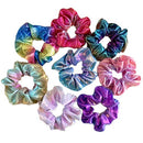 Image of Lurrose 8pcs Shiny Scrunchies Metallic Hair Rope Ponytail Holders for Women Girls (Pink Blue + Blue Brown + Yellow Green + Purple Blue + Red Orange + Double Blue + Rose Red + Rainbow Color)