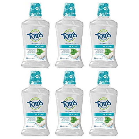 Tom's of Maine Sea Salt Natural Mouthwash, Alcohol Free Mouthwash, 16 Ounce 6-Count