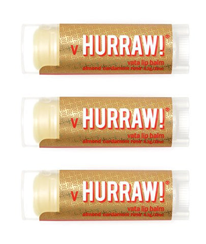Hurraw Vata (Almond, Cardamom, Rose) Lip Balm, 3 Pack ?? Organic, Certified Vegan, Cruelty and Gluten Free. Non-GMO, 100% Natural Ingredients. Bee, Shea, Soy and Palm Free. Made in USA