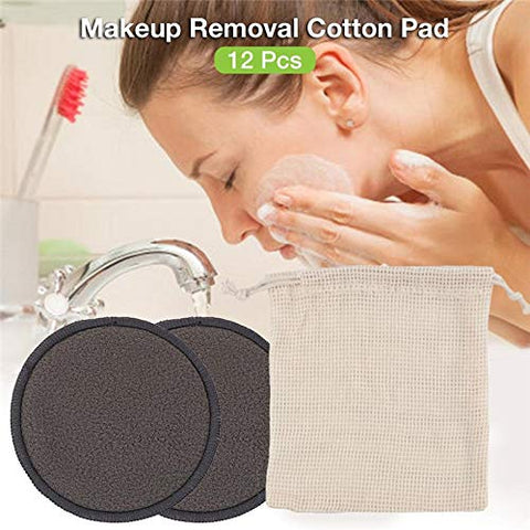 12PCS/SET Reusable Bamboo Fiber Washable Rounds Pads Makeup Removal Cotton Pad Cleansing Facial Pad Cosmetic Tool Skin Care