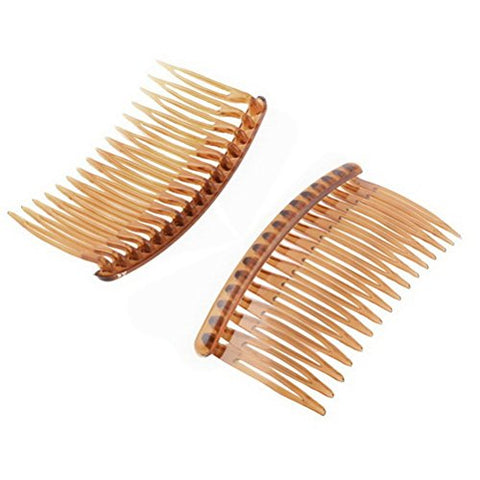 Plastic Women Lady 16 Teeth Fancy DIY Hair Comb Clip Slide Hairpin Brown 2 Pcs by Uptell