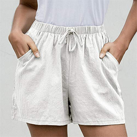 JPOQW Women's Casual Shorts Summer Drawstring Elastic Waist Comfy Solid Color Short Beach Short Lounge Pants with Pockets