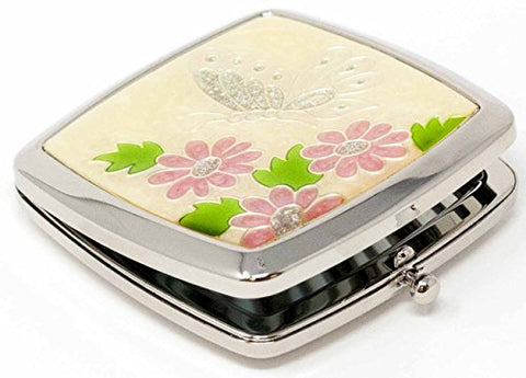Folding Compact Pocket Makeup Mirror With Swarovski Rhinestone Crystals Double Sided (5x magnification + 1x magnification) (Silver Butterfly)