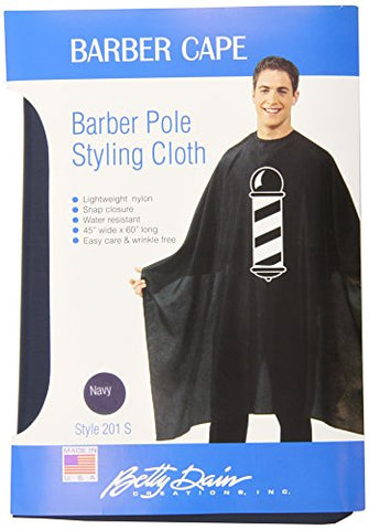 Betty Dain Barber Pole Cutting/Styling Cape, Water Resistant, Lightweight, Machine Washable, Secure