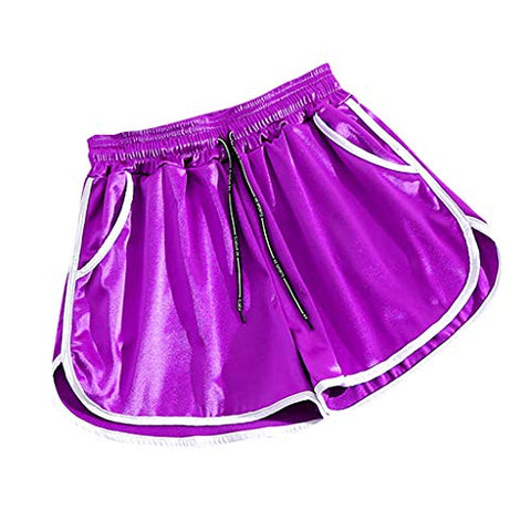WYTong Yoga Pants with Pockets for Women satin smooth High Waist Casual running Home Shorts(Purple,L)