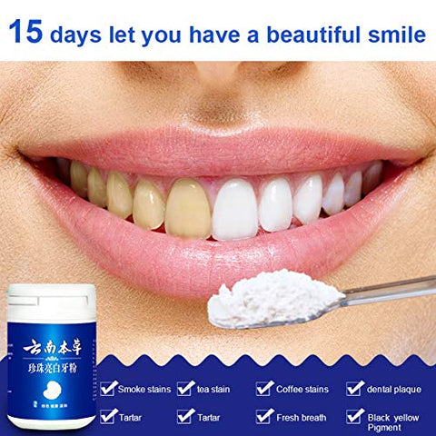 Angmile Natural Plant Extract Teeth Whitening Powder Remove Stains, Tartar Pear White Teeth Cleaning Powder