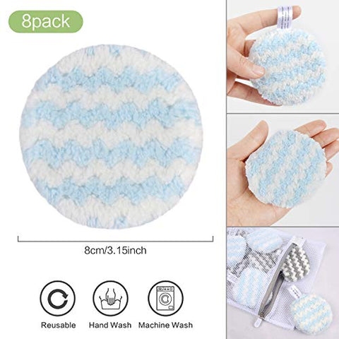 VIVOTE Makeup Remover Pads Reusable, Microfiber Makeup Removal Rounds Puff, Washable, Eco-friendly, Soft, Facial Eye Skin Wash Puffs, Laundry Bag, 3.15 Inch, 16 Pack (Gray + Blue)