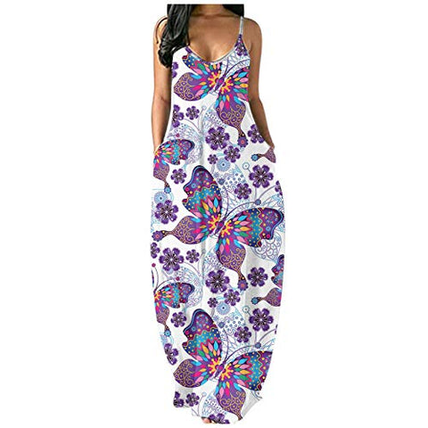 Women's Short Sleeve Loose Casual Butterfly Flower Print Plus Size Maxi Dresses Sling Long Dress V-Neck Beach Dress