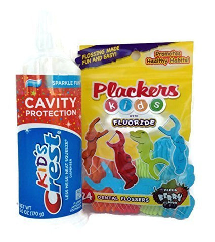 Crest Kid's Cavity Protection Neat Squeeze Sparkle Fun Flavor Toothpaste 6 Oz Bundle W/plackers Kids with Fluoride 24 Pack Dental Flossers (Bundle Contains 2 Items Total) by Combined Brands