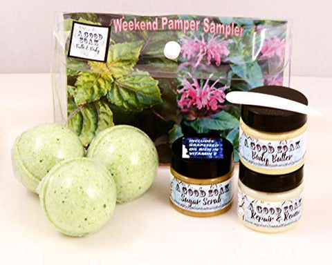 The Weekend Pamper-Sampler Gift - Essential Oil for Personal Spa Pampering at Home or Away - New 6 Piece Set (Patchouli/Bergamot)