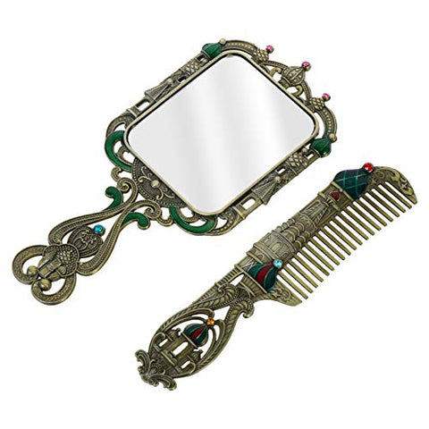 PIXNOR 2pcs Vintage Metal Mirror Comb Set Vintage Castle Portable Handheld Russian StyleHairdressing Styling Accessories Ancient tin
