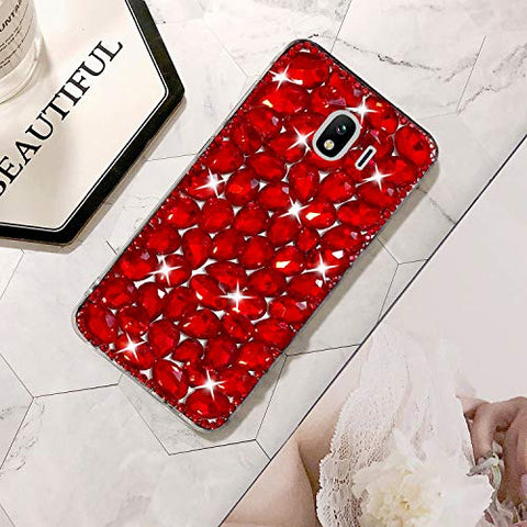 Bling Diamond Case for Galaxy J4 2018, Mistars 3D Handmade Sparkle Glitter Crystal Rhinestone Hard PC Back Cover + Soft TPU Frame Protective Case for Samsung Galaxy J4 2018, Red