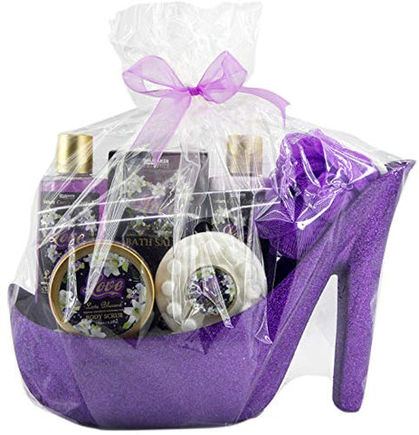 BRUBAKER Bath and Shower Gift Set Flowers Of Love - 7 Pcs. Gift Set in Purple Stiletto - High Heel