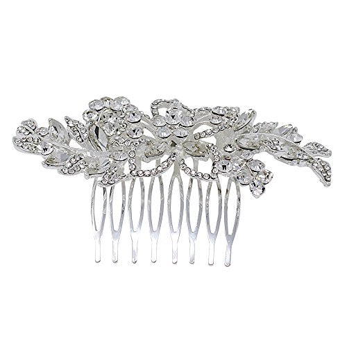 Flower and Leaf Comb, Silver