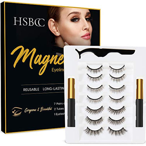 Upgraded 7 Pairs Magnetic Eyelashes Kit With Double Eyeliner , Reusable 3D 5D Magnetic Eyelashes with Eyeliner,Magnetic Eyeliner and Magnetic Eyelash Natural Look-No Glue Needed