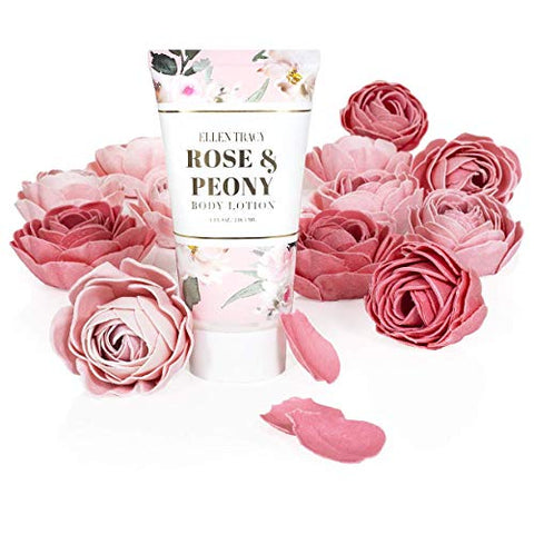 Ellen Tracy Lotion and Petal Set, Holiday Gift Set for Women (Rose & Peony)